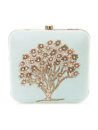 Blue-Gold Hand-Embroidered Sparkling Tree Motif Raw Silk Clutch