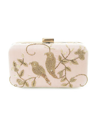 Pink Hand-Embroidered Twin-Bird Motif Raw Silk Clutch