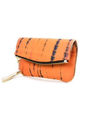 Orange-Black Handcrafted Tie And Dye Silk Sling Bag