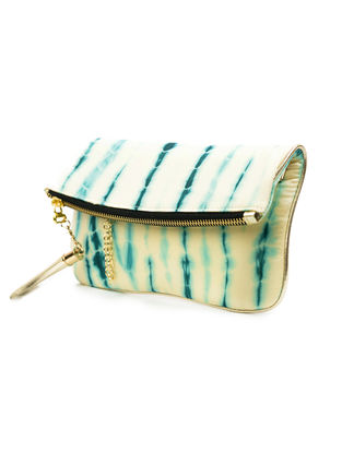 White-Blue Handcrafted Tie And Dye Silk Sling Bag