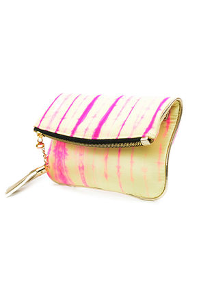 Cream-Pink Handcrafted Tie And Dye Silk Sling Bag