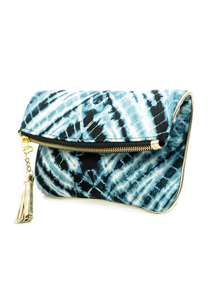 Turquoise-White Handcrafted Tie And Dye Silk Sling Bag
