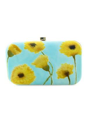Blue-Yellow Floral Motif Hand-Painted Silk Clutch
