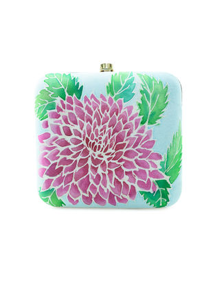 Blue-Pink Floral Motif Hand-Painted Silk Clutch