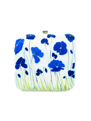 White-Blue Floral Motif Hand-Painted Silk Clutch