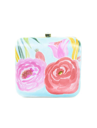 Blue-Multicolor Floral Motif Hand-Painted Silk Clutch