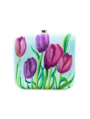 Blue-Purple Floral Motif Hand-Painted Silk Clutch