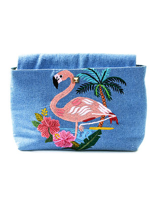 Blue Flamingo Motif Hand-Embroidered Denim Sling Bag
