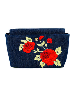 Blue Floral Motif Hand-Embroidered Denim Sling Bag