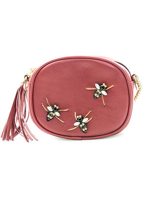 Maroon Embellished Leather Sling Bag with Tassel