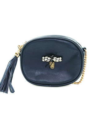 Navy Blue Embellished Leather Sling Bag with Tassel