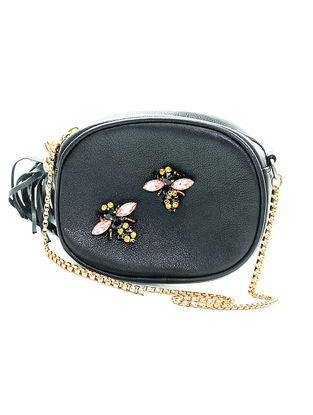 Black Embellished Leather Sling Bag with Tassel