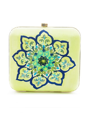Yellow-Multicolored Hand-Painted Satin Clutch