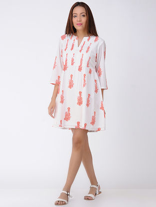 Ivory-Peach Block-printed Pleated Cotton Dress