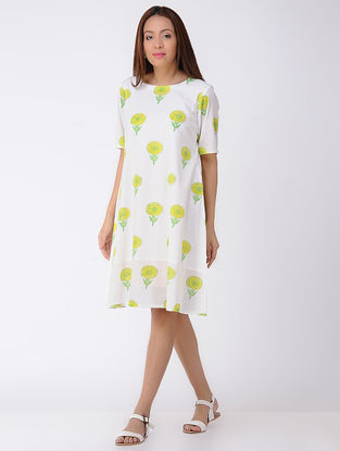 Ivory-Yellow Block-printed Cotton Dress