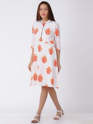 Ivory-Orange Block-printed Cotton Dress