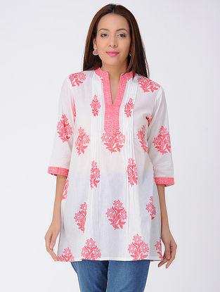 Ivory-Pink Block-printed Pleated Cotton Kurta
