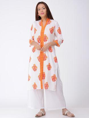 Ivory-Orange Block-printed Cotton Kurta