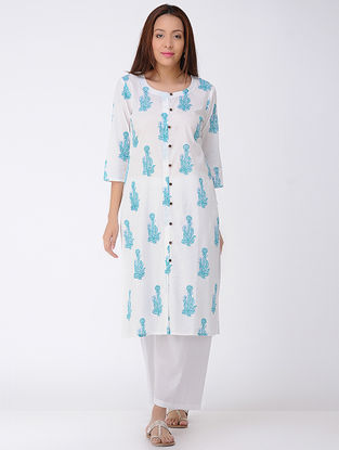 Ivory-Blue Block-printed Cotton Kurta