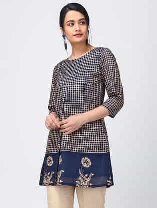 Blue Block-Printed Chanderi-Cotton Top with Pleats