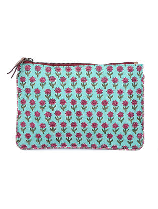 Blue-Red Hand Block Printed Cotton Pouch
