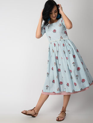 Blue Dyed Block-printed Handloom Cotton Dress