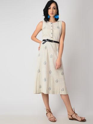 Ecru Dyed Block-printed Handloom Cotton Dress