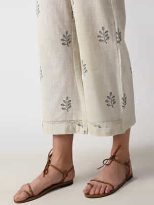 Ecru Dyed Block-printed Handloom Cotton Pants