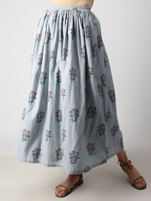 Grey Dyed Block-printed Cotton Mul Skirt