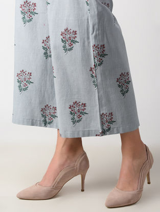 Grey Dyed Block-printed Cotton Mul Palazzos