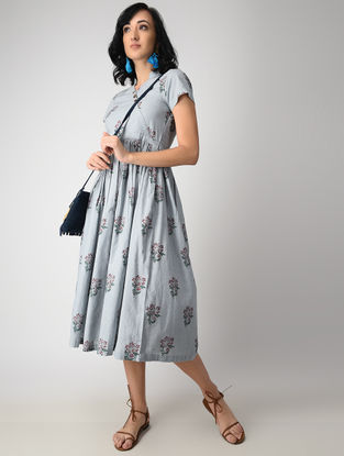 Grey Dyed Block-printed Cotton Mul Dress