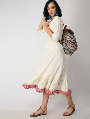 Ivory Block-printed Cotton Mul Dress