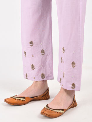 Lilac Hand Dyed Cotton Pants with Hand-Embroidery