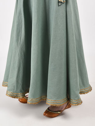 Green Hand Dyed Cotton Skirt with Gota Work