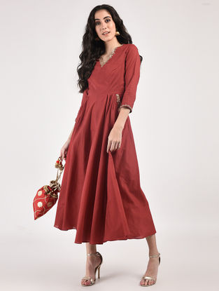 Maroon Hand Dyed Cotton Dress with Hand-Embroidery