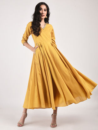 Mustard Hand Dyed Cotton Dress with Hand-Embroidery