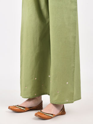 Green Hand Dyed Cotton Pants with Hand-Embroidery