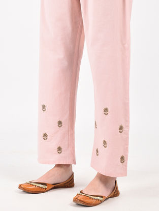 Peach Hand Dyed Cotton Pants with Hand-Embroidery