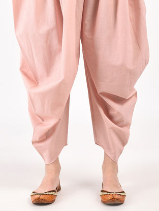 Peach Hand Dyed Cotton Patiala Pants
