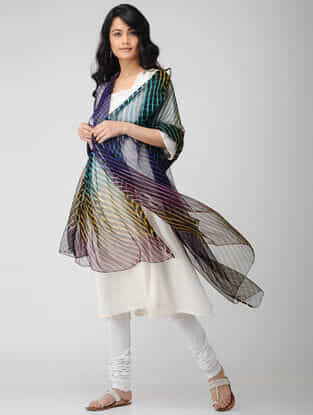 Black-Purple Leheriya Georgette Dupatta