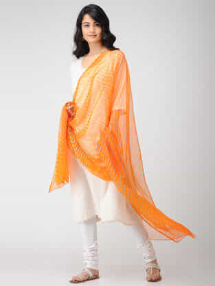 Orange-Ivory Leheriya Georgette Dupatta