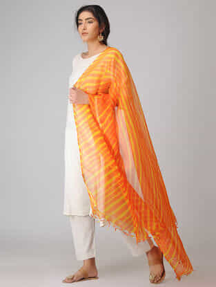 Orange-Yellow Leheriya Kota Silk Dupatta with Zari Border