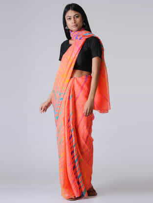 Peach-Yellow Leheriya Chiffon Saree