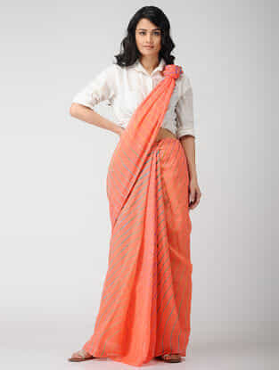 Peach-Blue Leheriya Chiffon Saree