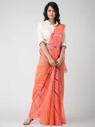 Peach-Green Leheriya Chiffon Saree