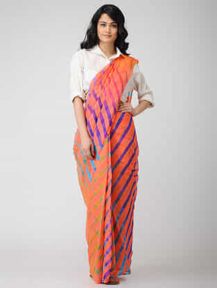 Peach-Purple Leheriya Chiffon Saree