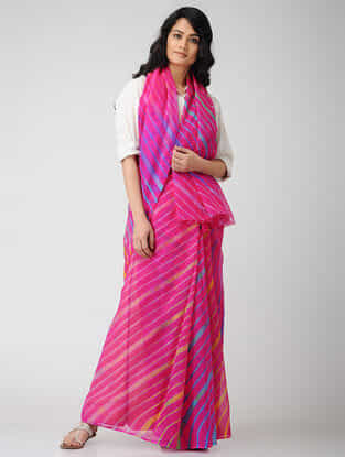 Pink-Blue Leheriya Chiffon Saree