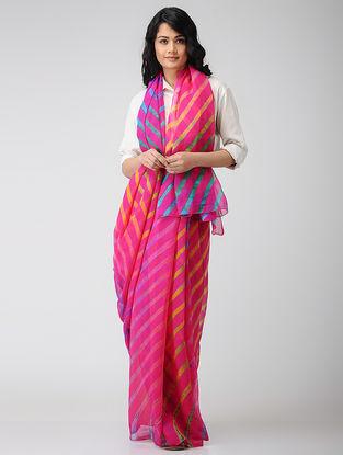 Pink-Yellow Leheriya Chiffon Saree