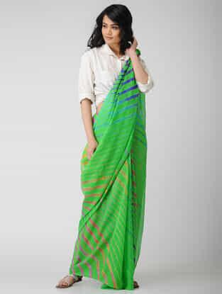 Green-Blue Leheriya Chiffon Saree