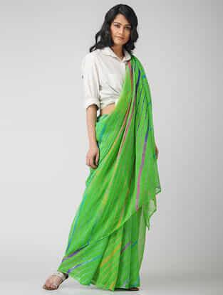 Green-Purple Leheriya Chiffon Saree